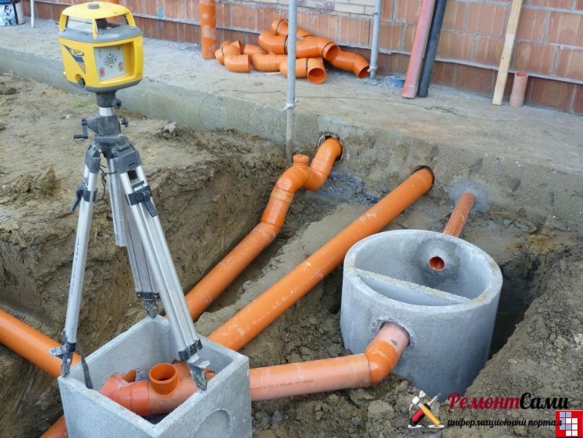 соединение наружной и подземной канализации