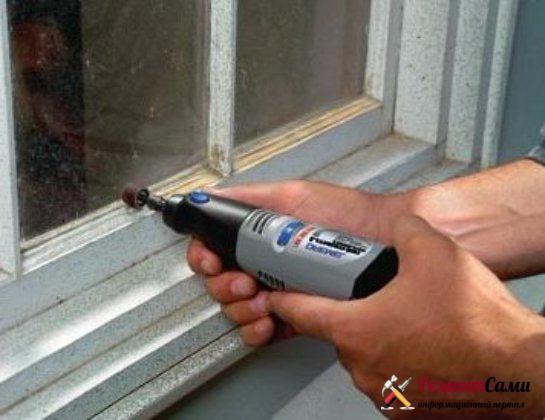 шлифмашина очистка окна