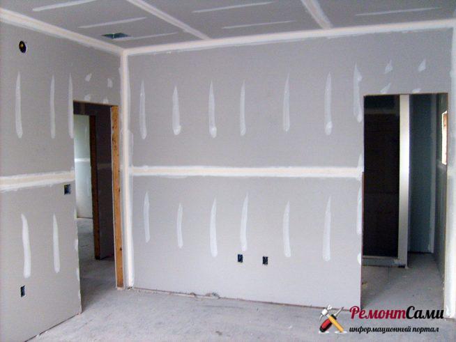 Выравнивание основания стен с помощью гипсокартона