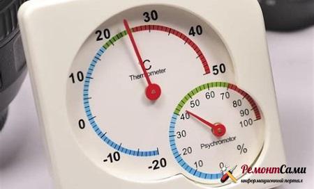 На шкалах некоторых приборов для наглядности сразу отмечены оптимальные диапазоны влажности и температуры.