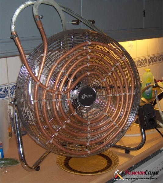 Кондиционер из вентилятора и медной трубки