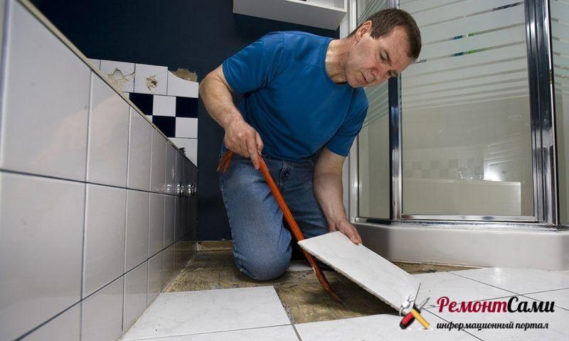 Работа с напольным покрытием ремонт в ванной
