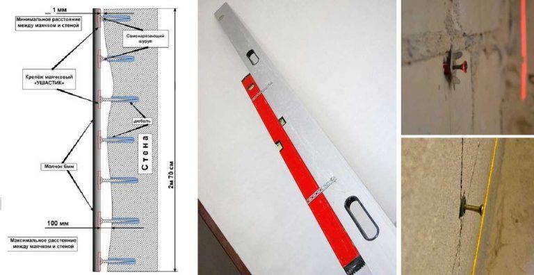 Схема установки маяков на саморезах