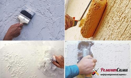 Рисунок рельефной штукатурки на стенах можетбыть самым различным