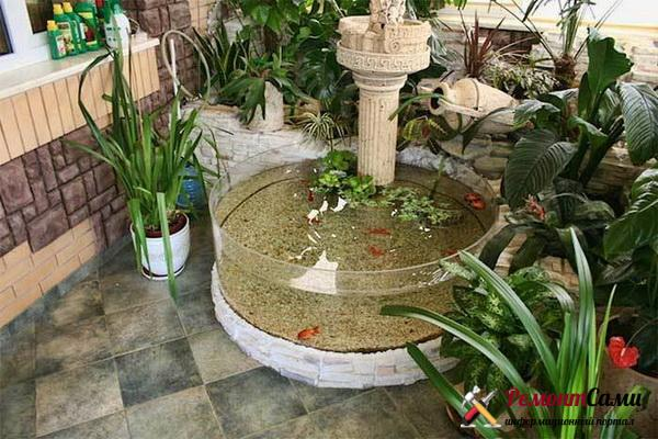 фонтан на базе систем террариумов или аквариумов