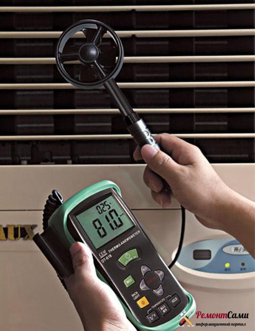 специальные приборы – анемометры, показывающие скорость отводимого воздушного потока.