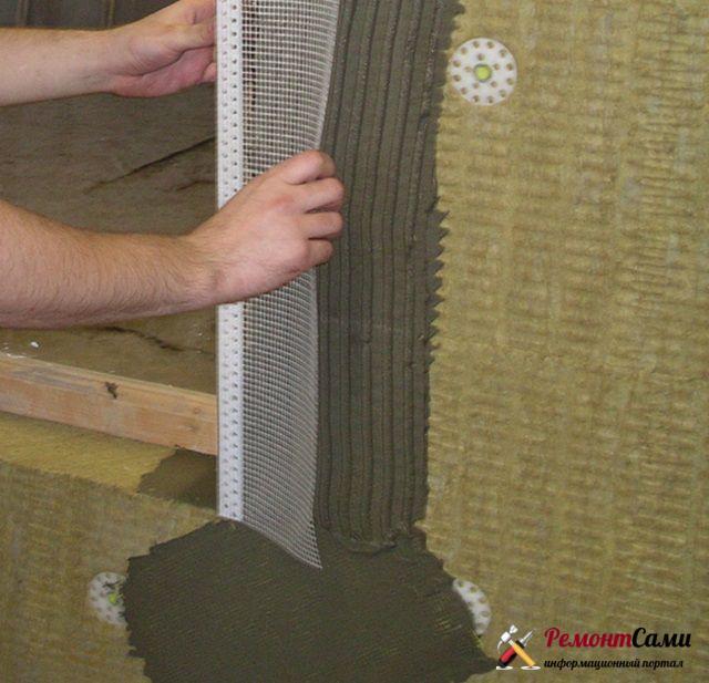 Монтаж уголков с армирующей сеткой