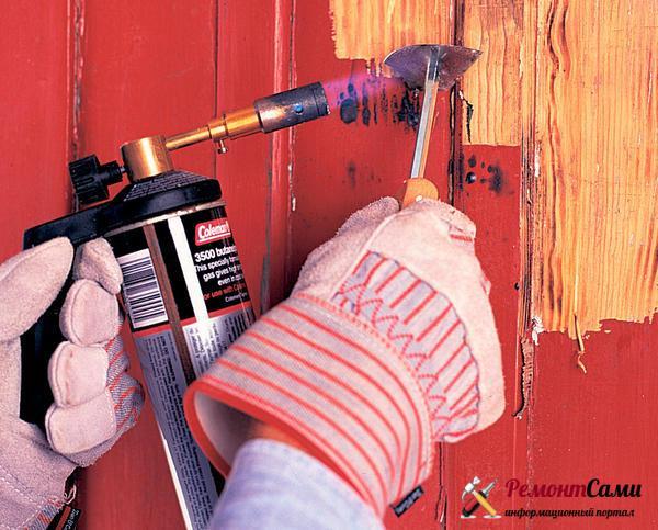 Удаление краски газовой горелкой