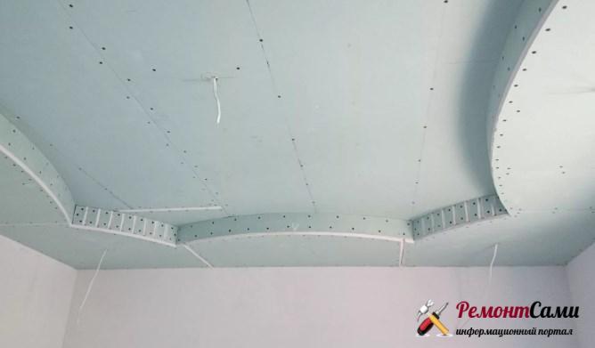Гипсокартонный потолок как первый уровень