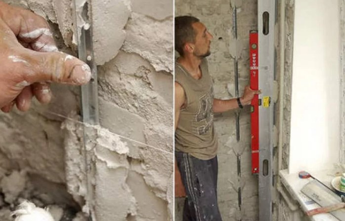 Определяется место, где находится самая выступающая часть стены