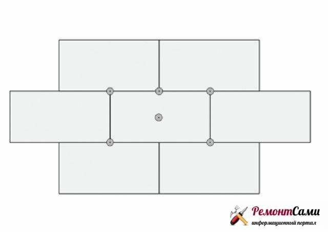 Схема расположения плит пенопласта и дюбелей