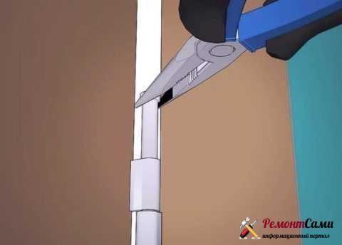 Вытаскивание осевого стержня из петлей