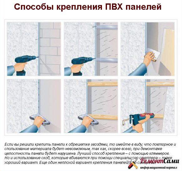 способы крепления панелей пвх к стене