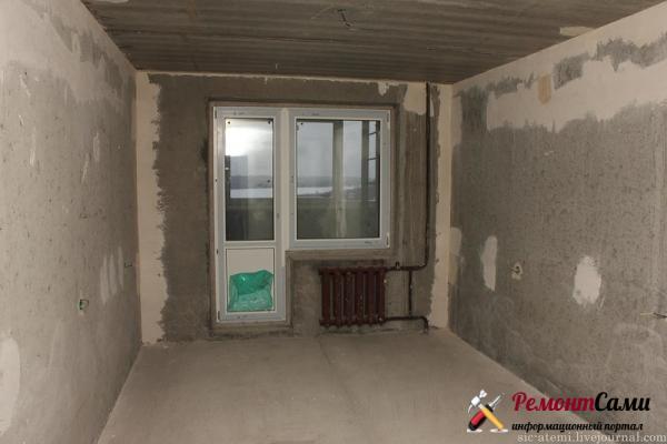 Начальный этап отделки стен в спальне