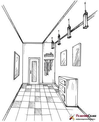 Создание рисунка или эскиза готового интерьера