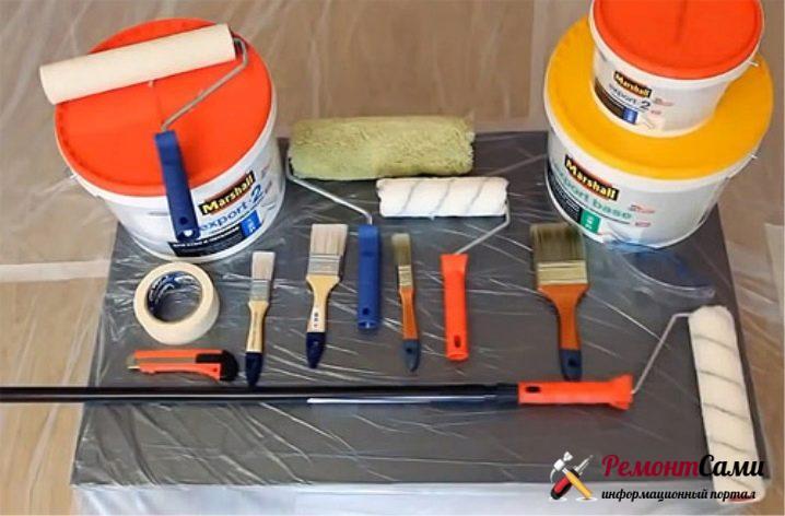 Инструменты для покраски потолка водоэмульсионной краской