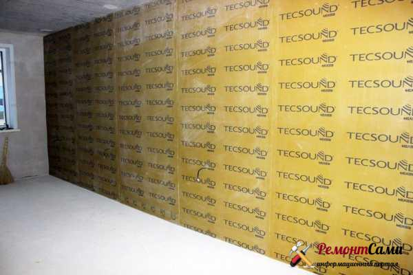 Монтаж шумоизоляции тексаунд на стену