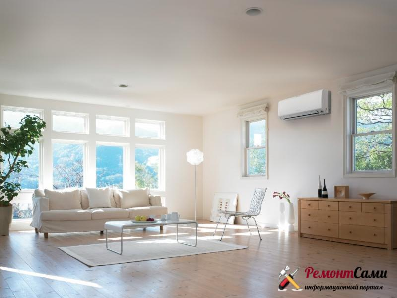 Сплит система также эявляется неотъемлемой частью дизайна помещения