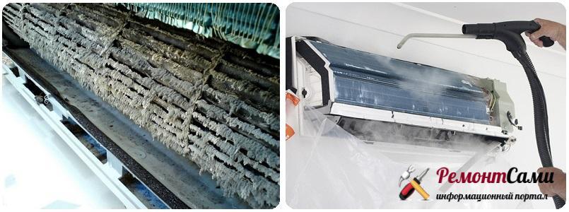 В фильтре кондиционера скапливается пыль, что негативно влияет на его работу
