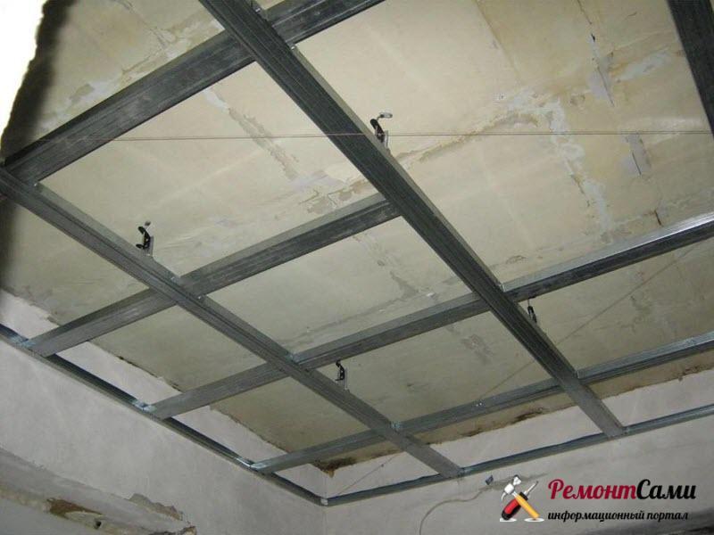 Способы монтажа профилей каркаса для потолка из гипсокартона