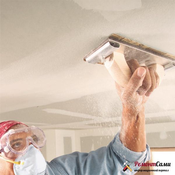 Шлифовка потолка под покраску
