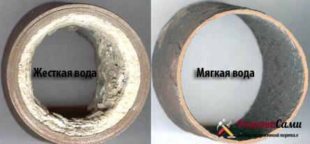 Скопившиеся в трубе известковые отложения уменьшают ее эффективный диаметр
