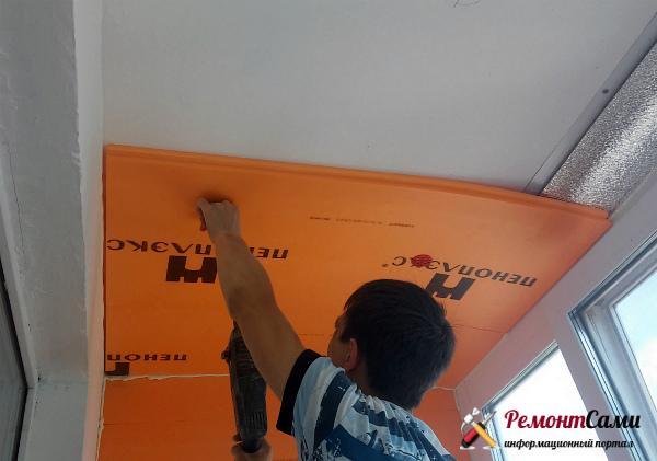 Утепление потолка лоджии или балкона с помощью пенопласта, пеноплекса