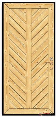 Деревянная дверь обшитая рейкой