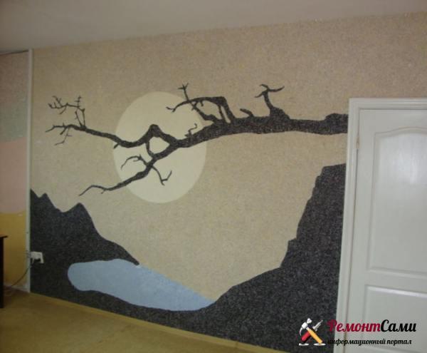Приложив немного старания и имея небольшой опыт нанесения, можно воплощать различные идеи украшения стен